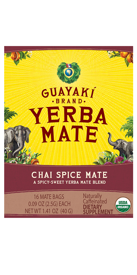 Guayaki Yerba Mate Chai Spice Mate: Tea Bag An invigorating spicy-sweet blend of yerba mate and chai spices