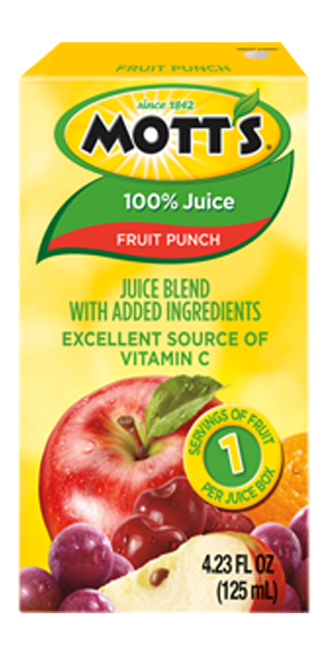 Mott's 100% Fruit Punch Beverage made from a combination of fruit juice concentrates