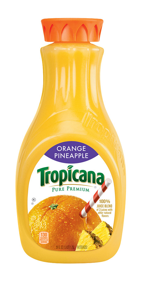 Tropicana Orange Pineapple Juice 100% fruit juice with added fruit puree